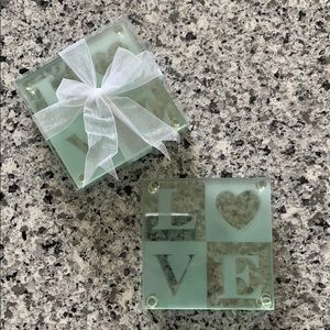 Set of 8 Glass Love Coasters